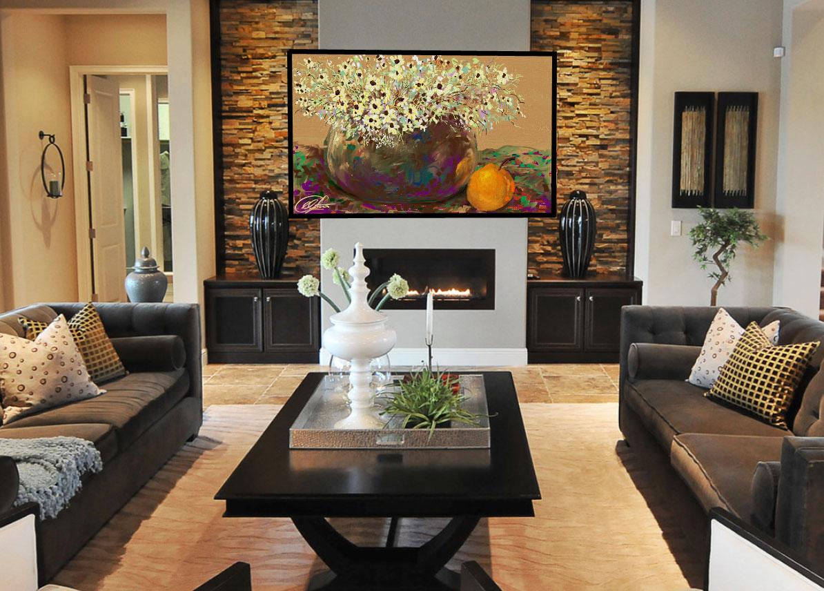 Дизайна зала с камином