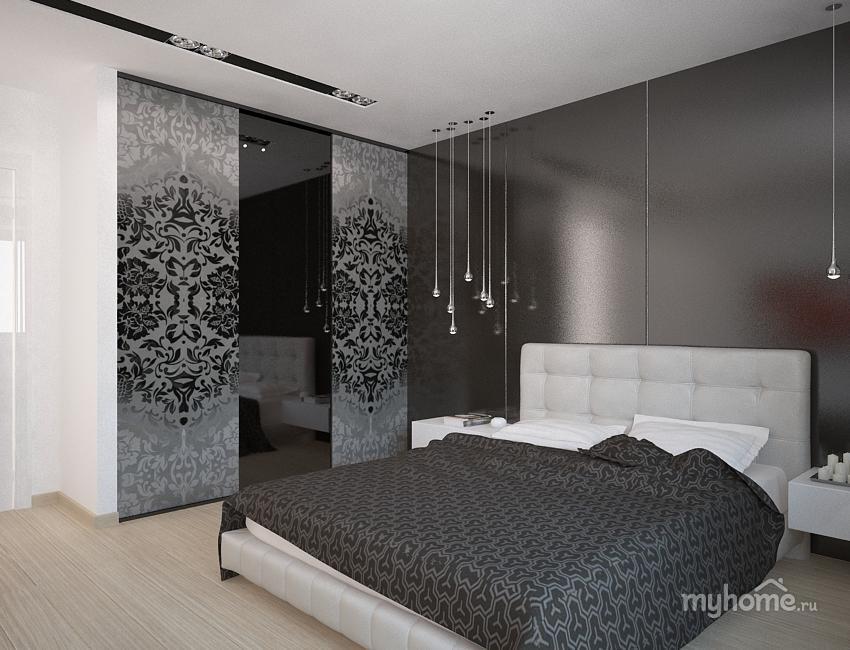 Фото дизайна спальни в бело черных тонах