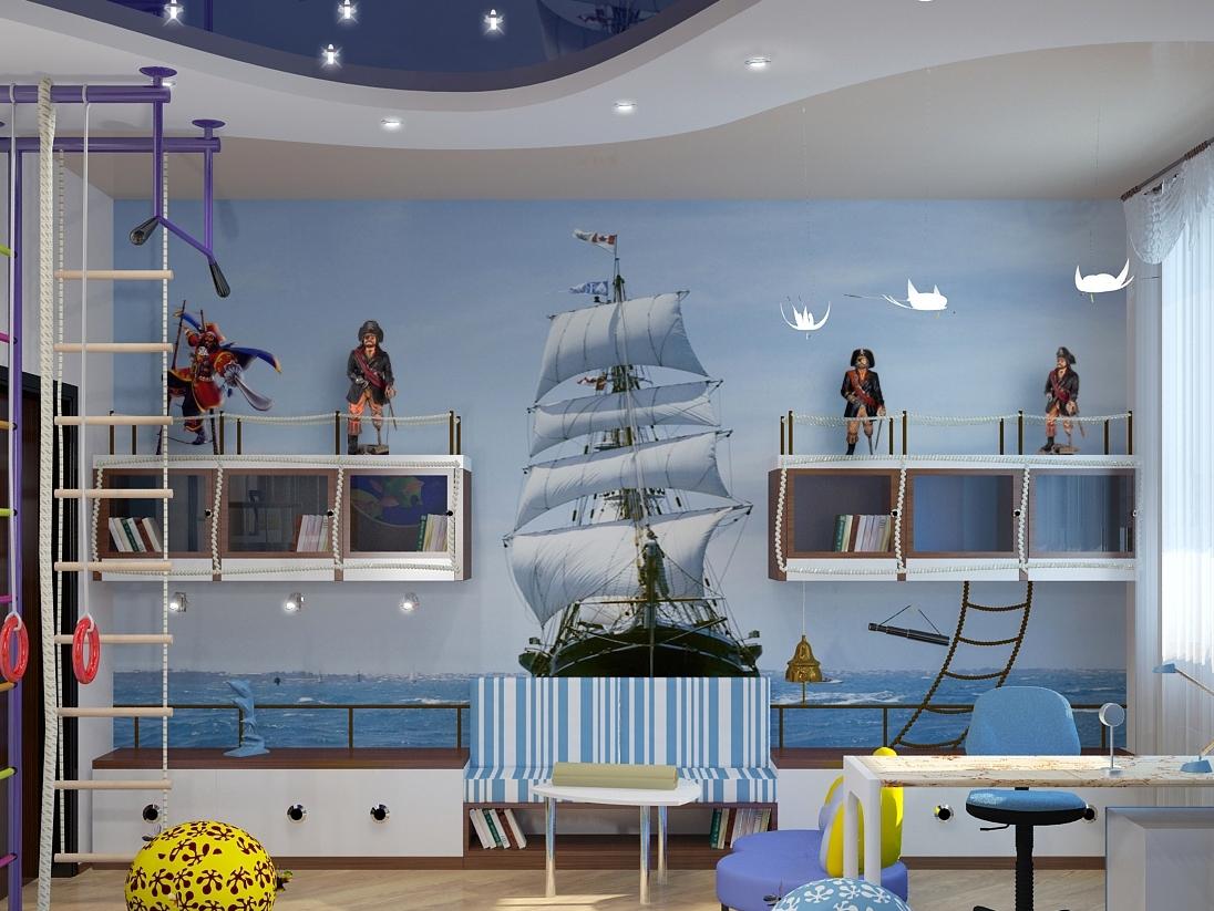 Дизайн комнаты для мальчика в морском стиле