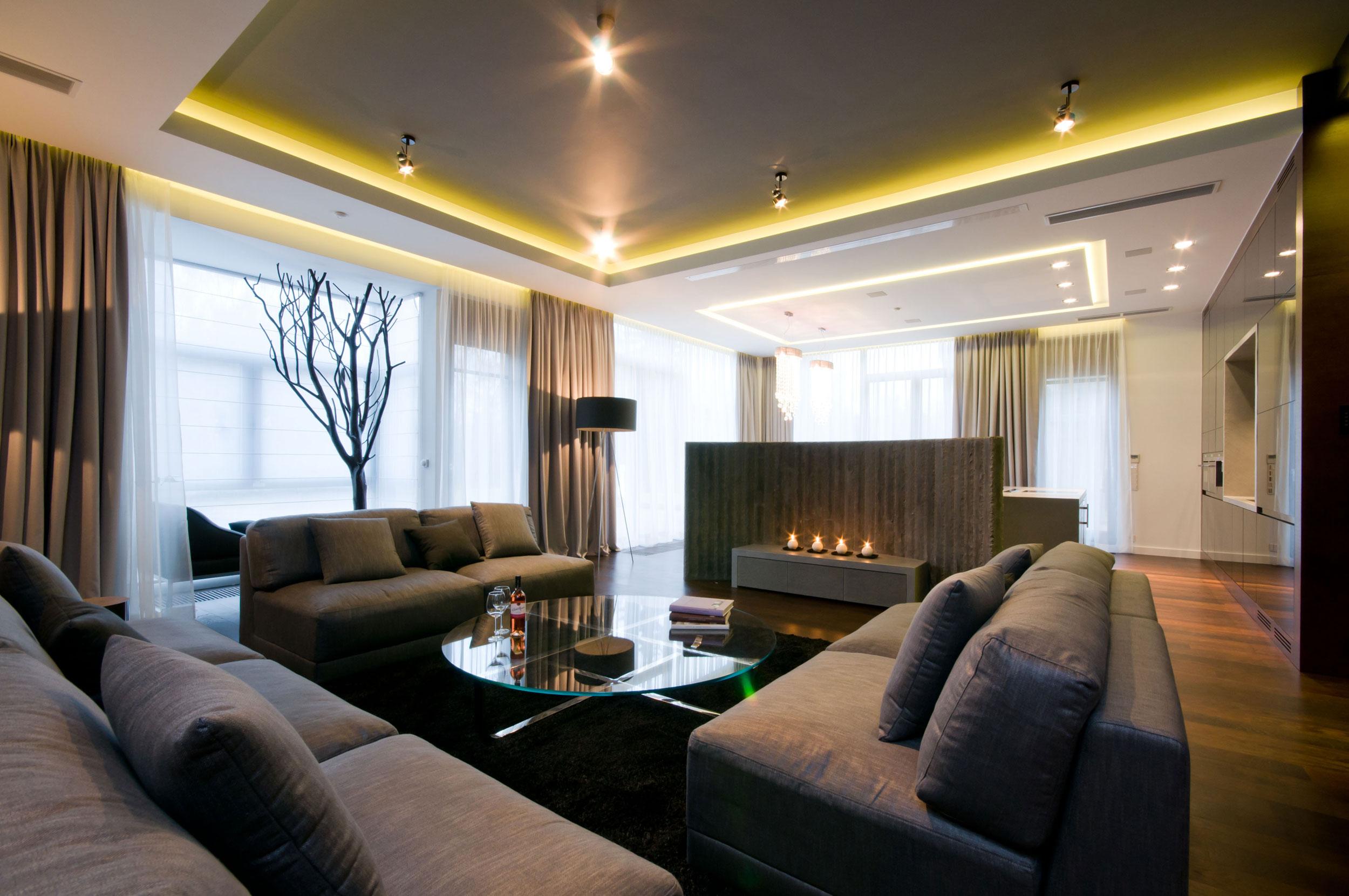 Фото дизайна большой гостиной