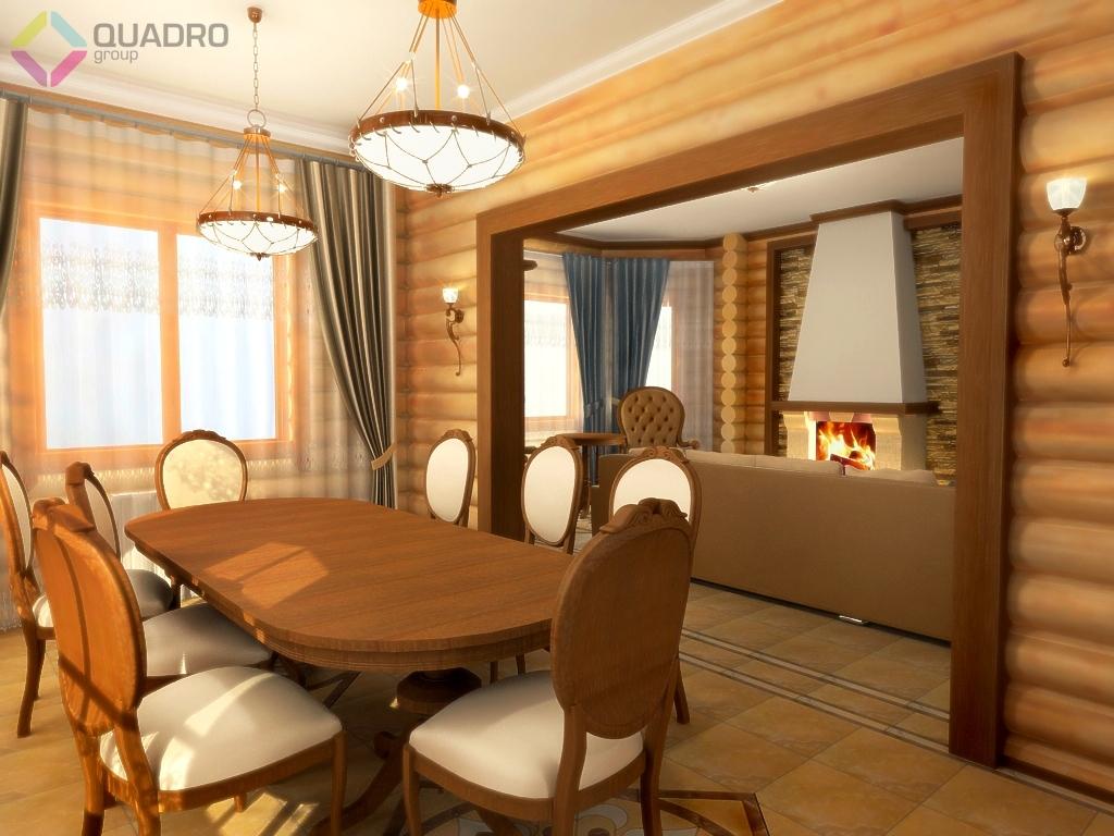 Фото дизайна интерьеров в доме из оцилиндрованного бревна