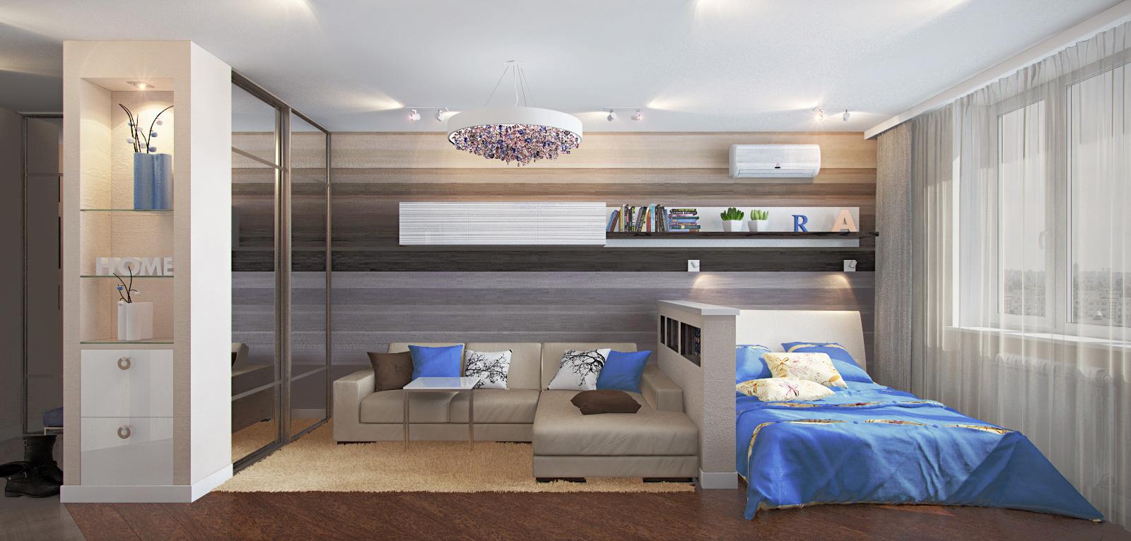 Дизайн спальня-гостиная 15 кв.м