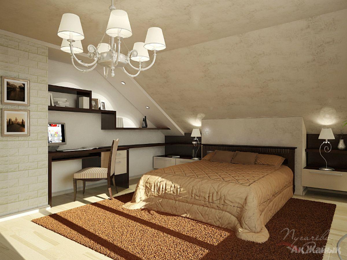 Интерьер спальни со скошенным потолком фото