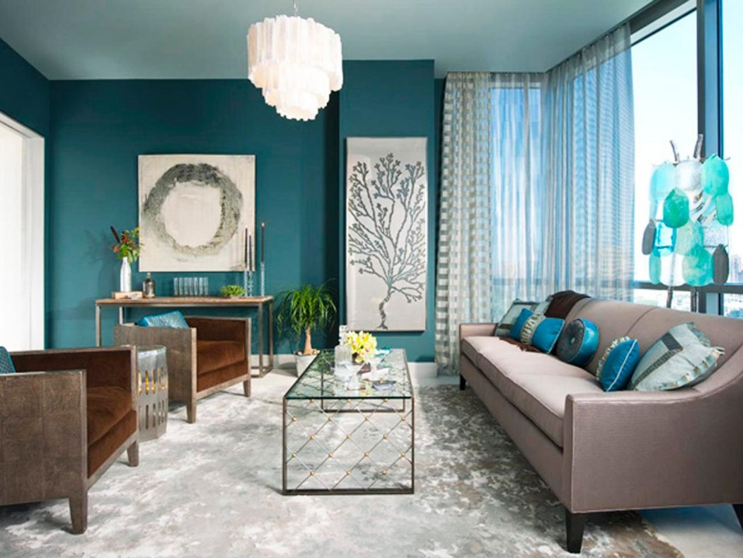 Turquoise and grey living