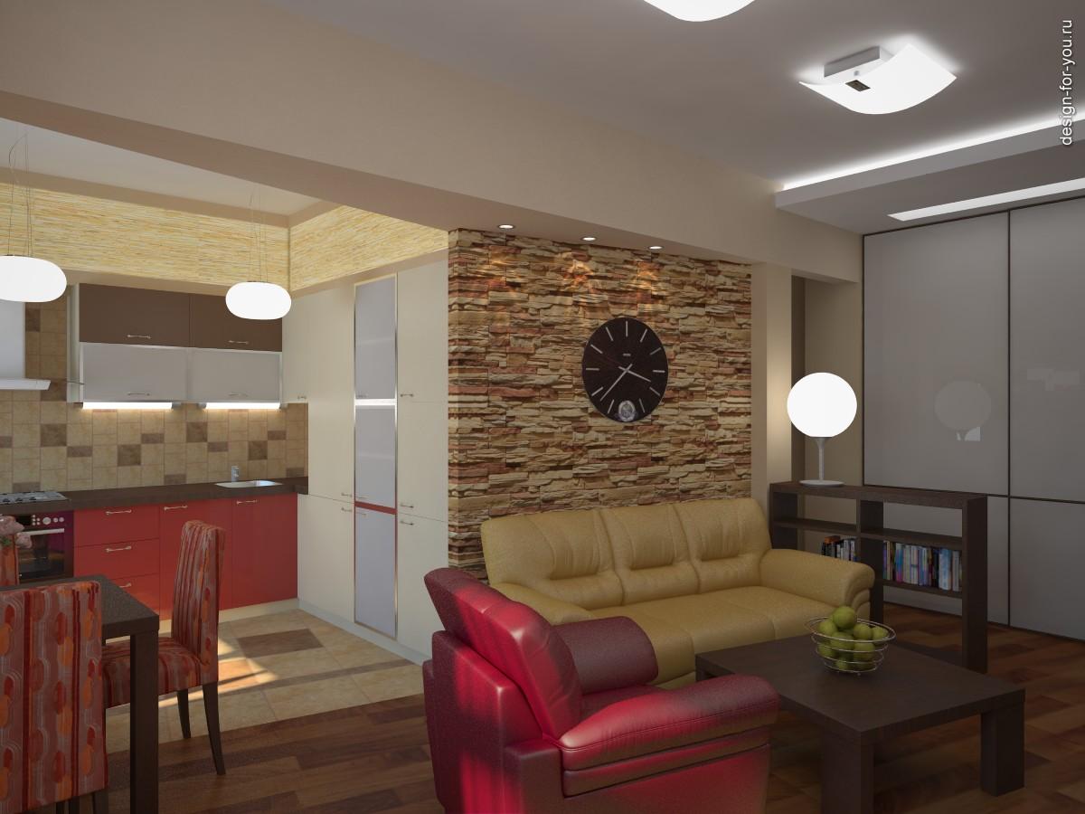 Кухня совмещенная с гостиной в квартире дизайн в