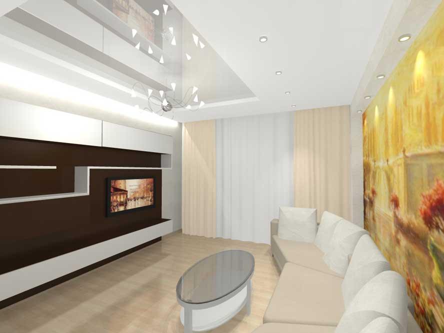 Интерьер фото зала в трехкомнатной квартире