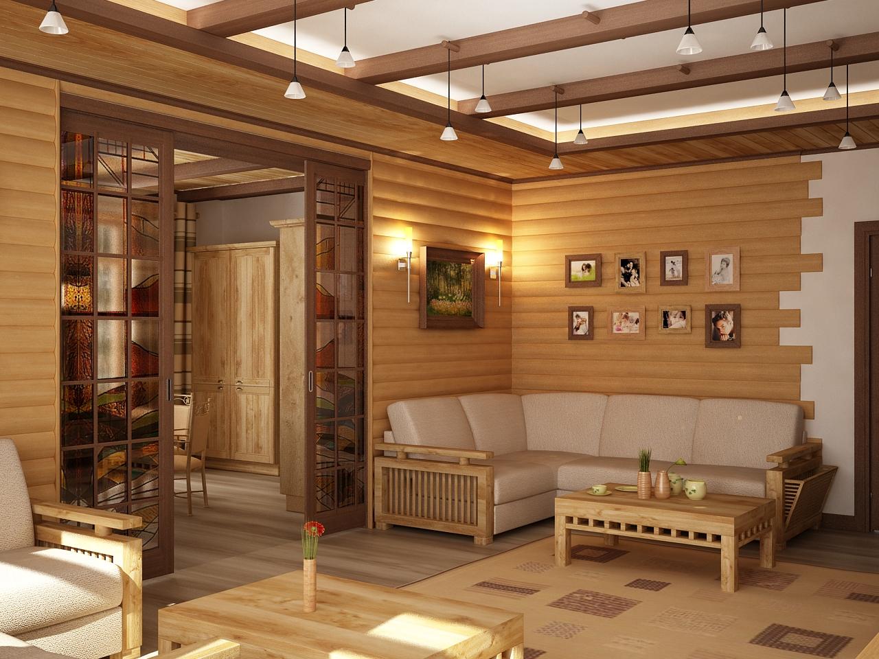 Дизайн кухня столовая гостиная в деревянном доме