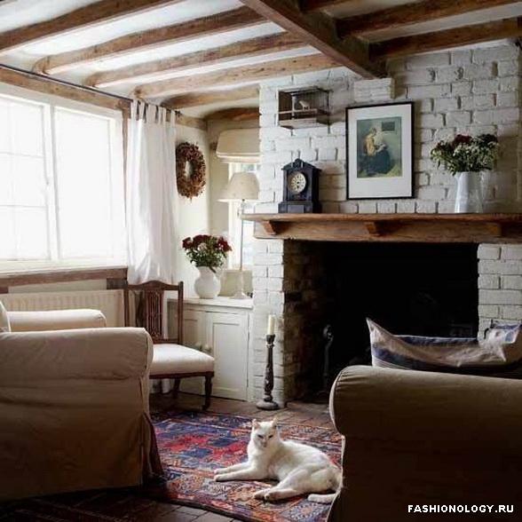 Гостиная в деревенском стиле - дизайн интерьера
