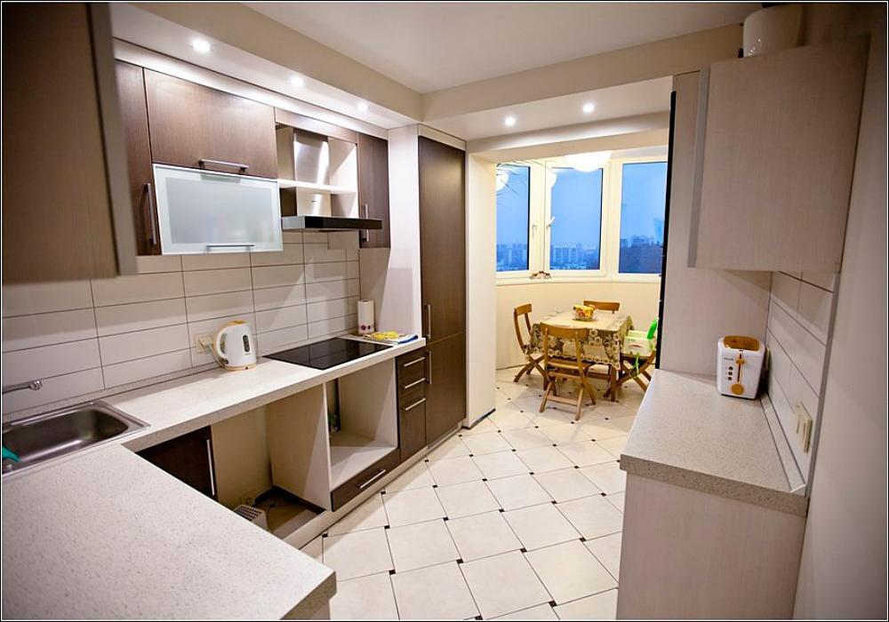 Кухни соединенные с балконом дизайн