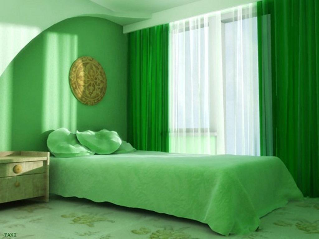 Дизайн спальни в салатовых тонах