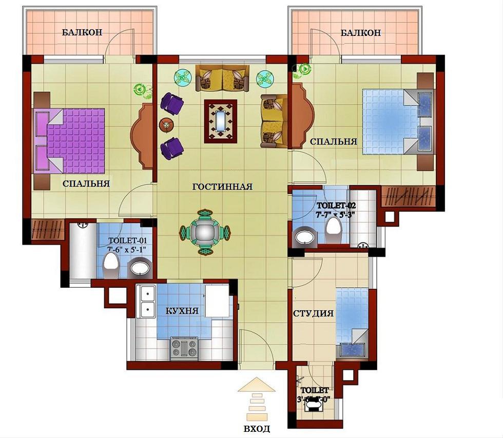 Нарисовать план квартиры онлайн бесплатно