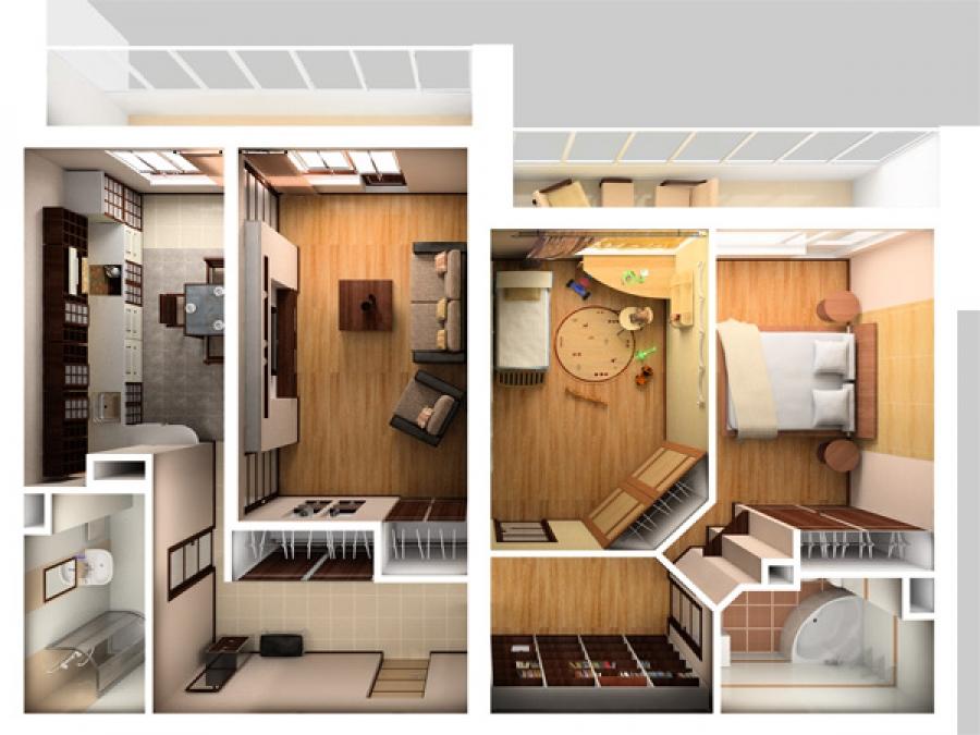 Планировка трёхкомнатной квартиры / мода / квартира студия п.