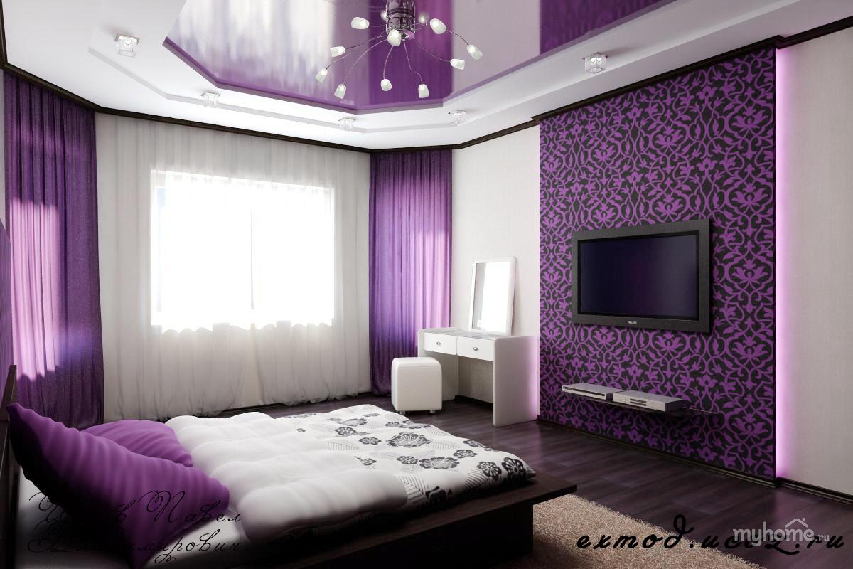 Интерьеры спальни лиловая