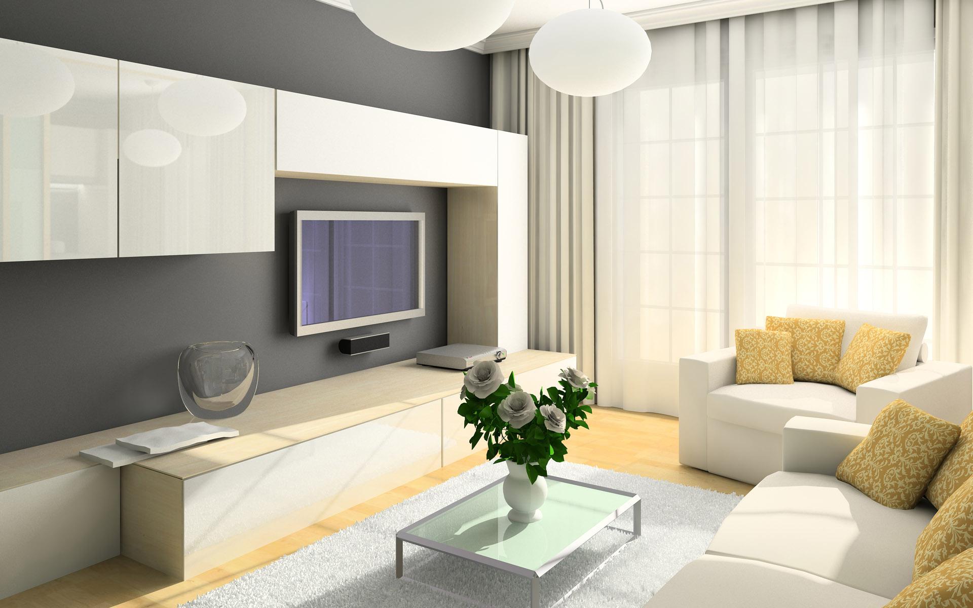 Дизайн зала в белых тонах