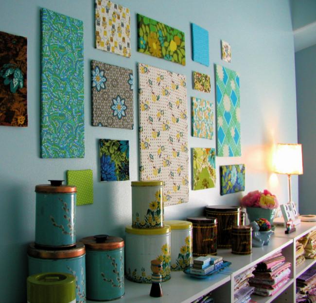 Декорирование стен своими руками тканью