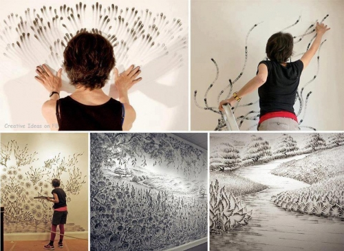 Рисовать на стене рисунки своими руками