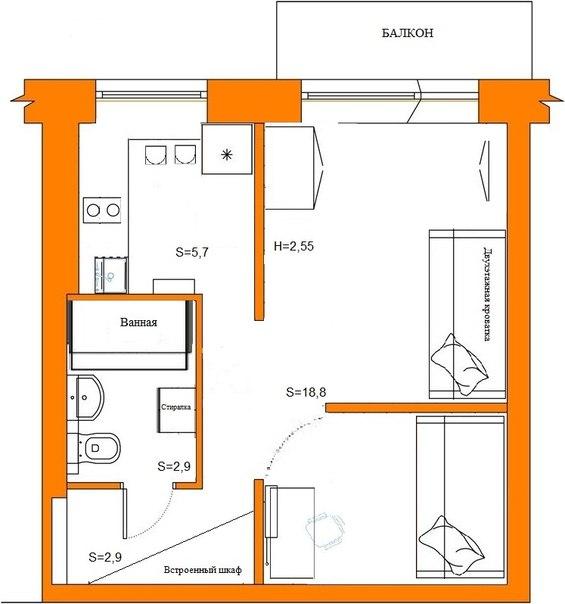 П-18 22 размер лоджии угловая квартира.