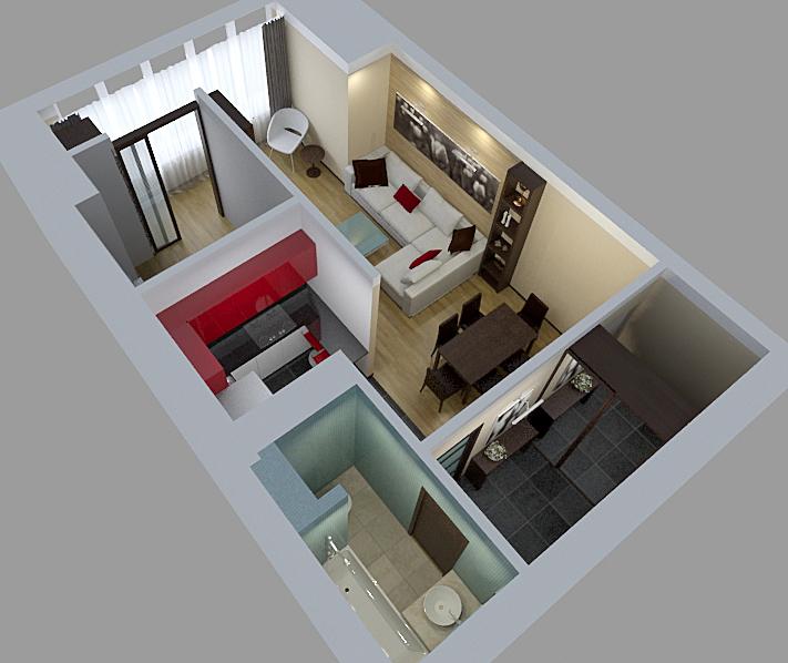 Дизайн интерьера двухкомнатной квартиры 50 кв.м