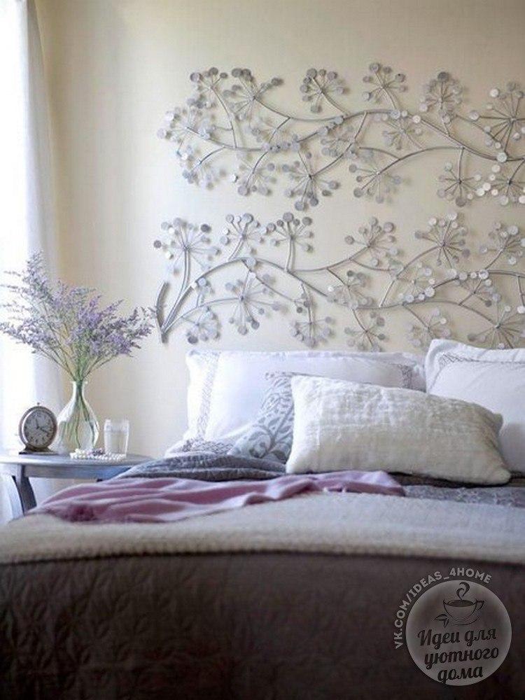 Как украсить стену у изголовья кровати своими руками
