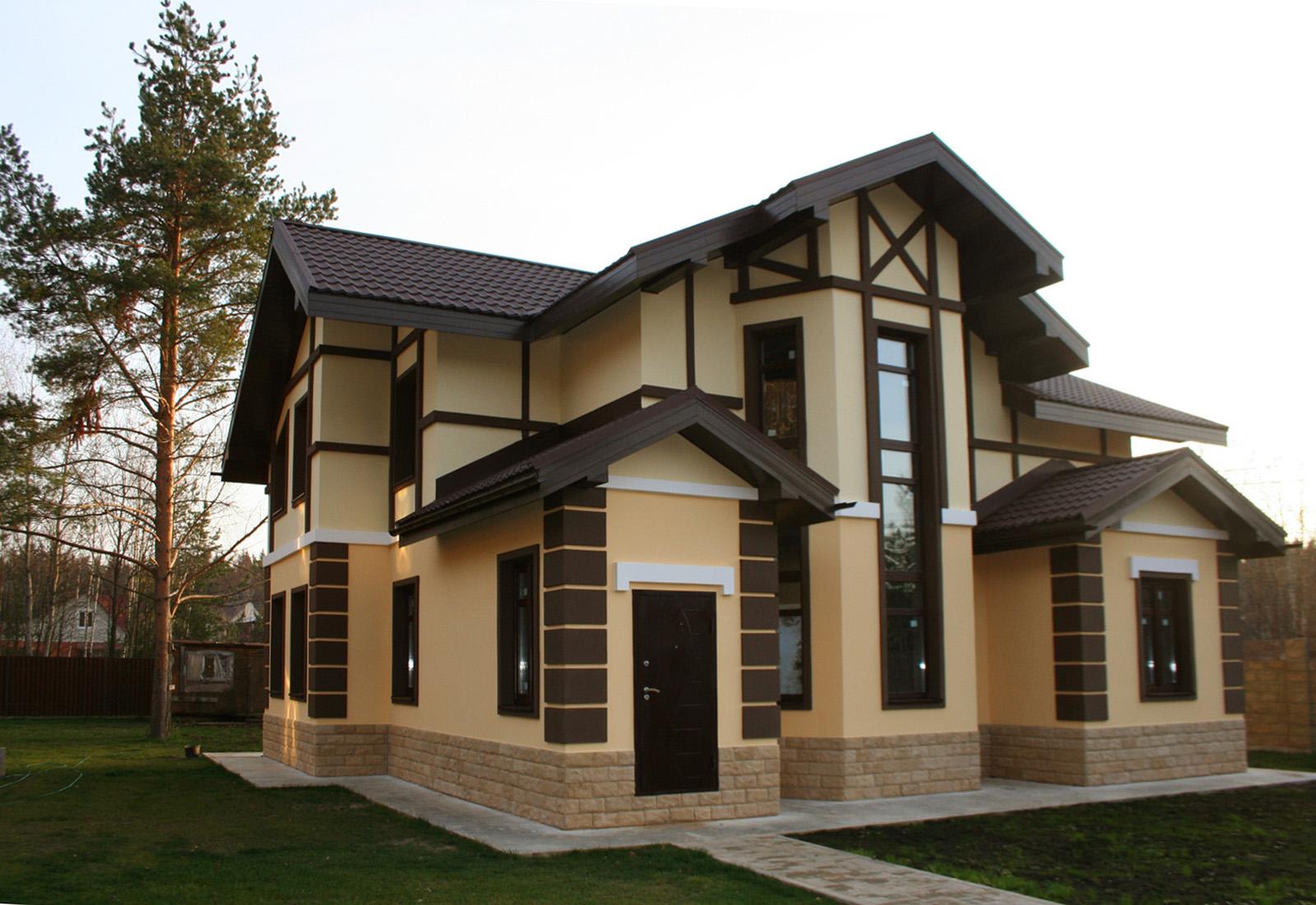 Дизайны фасадов загородных домов