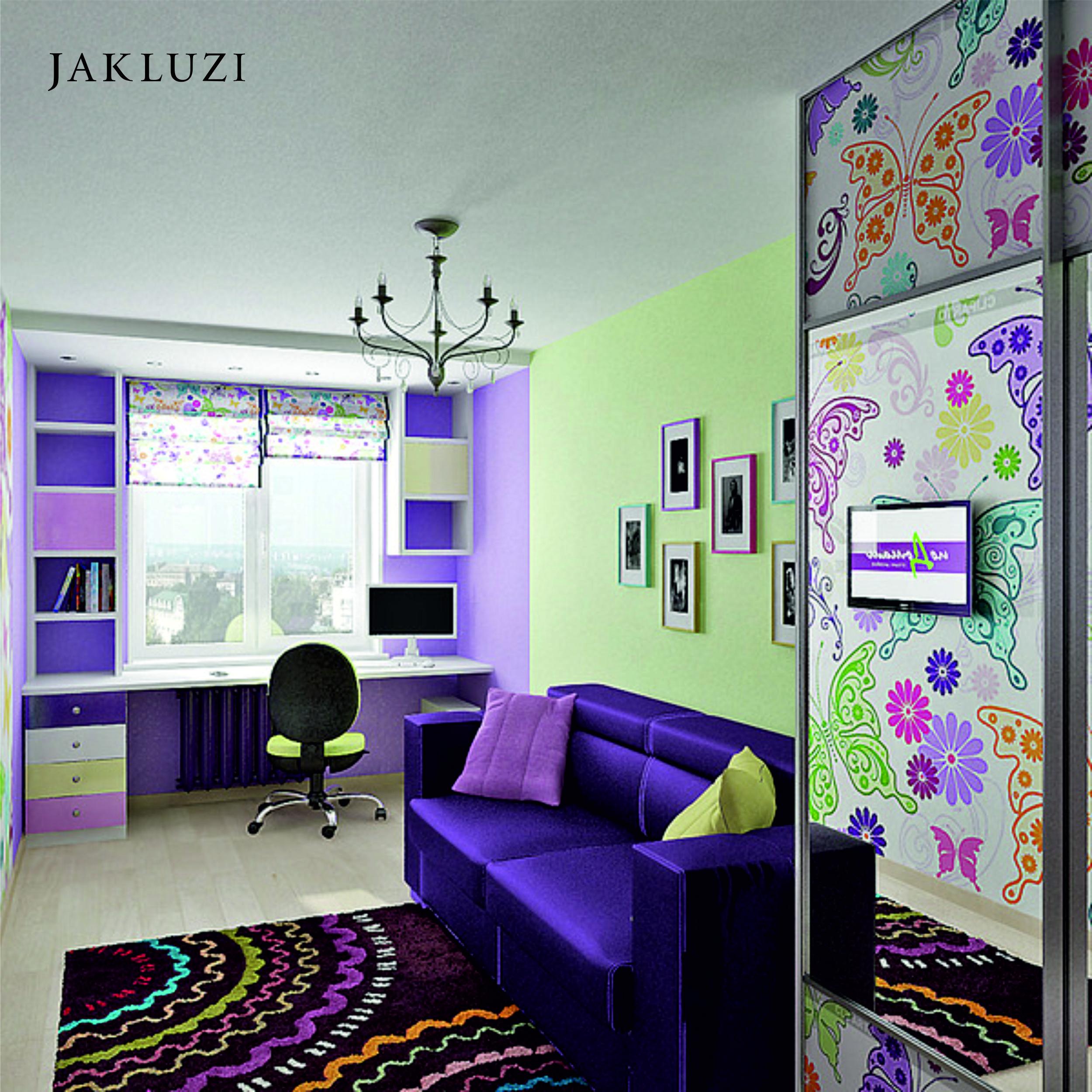 Дизайн детской узкой длинной комнаты