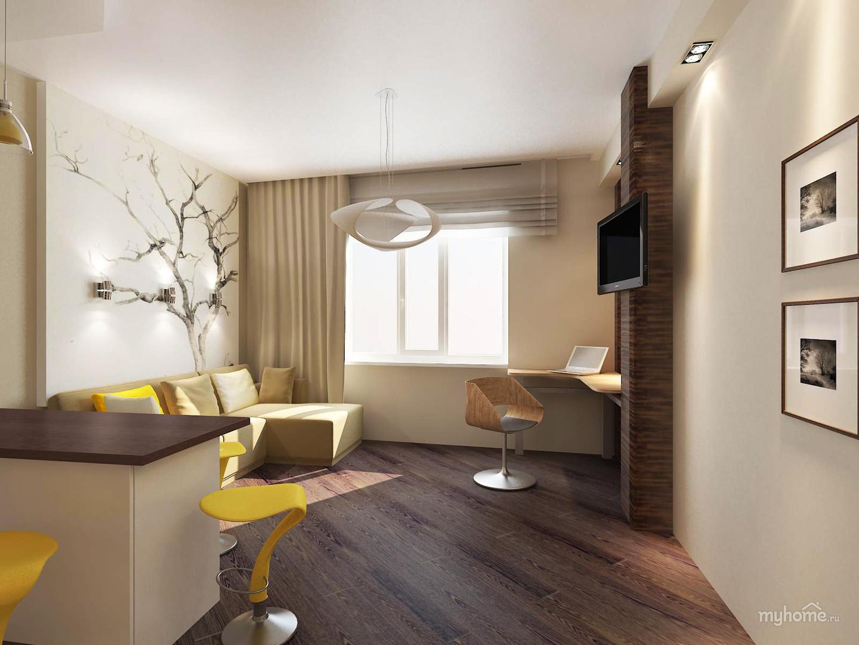 Дизайн квартиры однокомнатной для молодой семьи