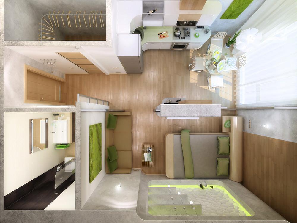 Дизайн квартира студия 16 кв м дизайн фото