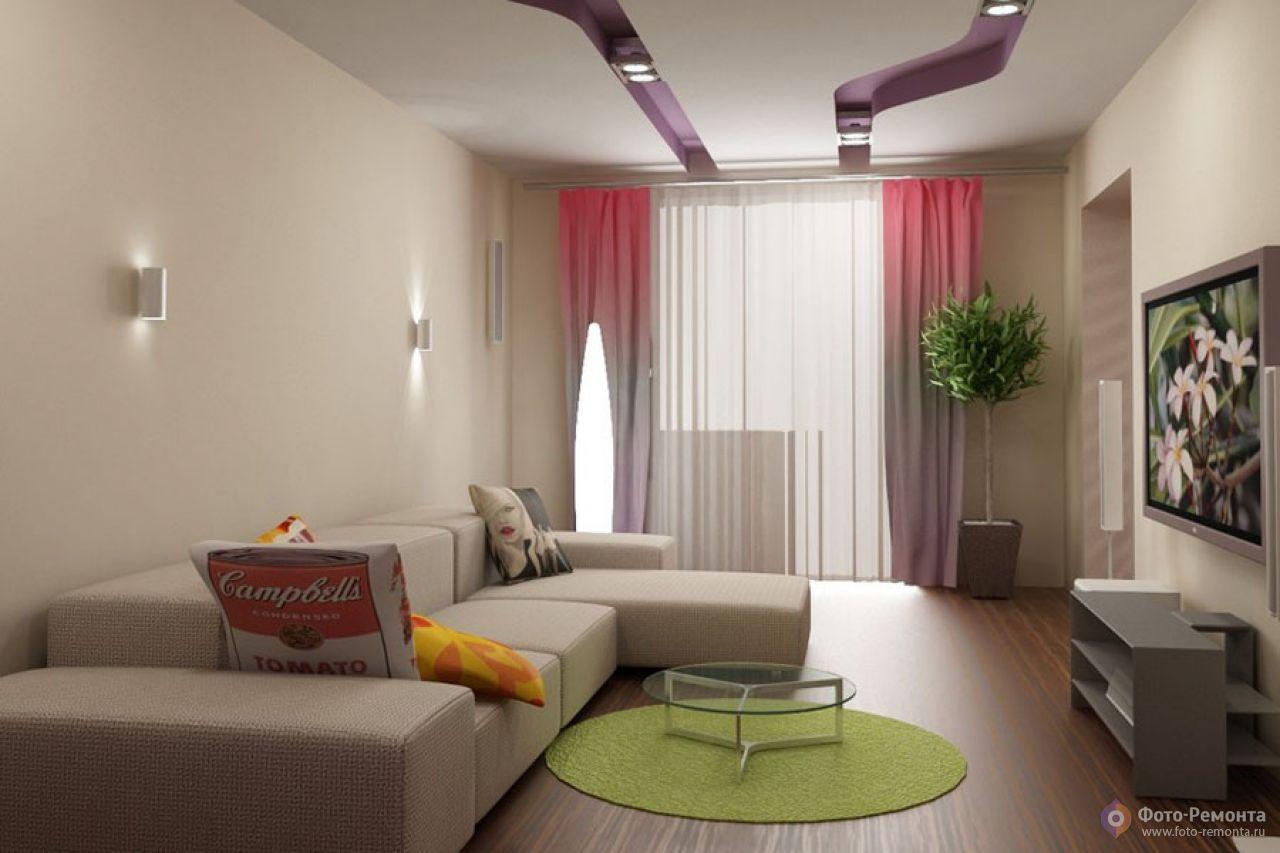 Дизайн гостиной с балконом 16 метров.