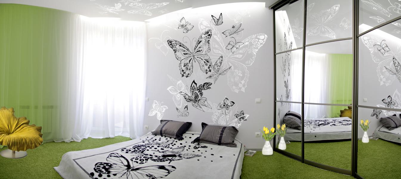 Дизайн с бабочками в квартире