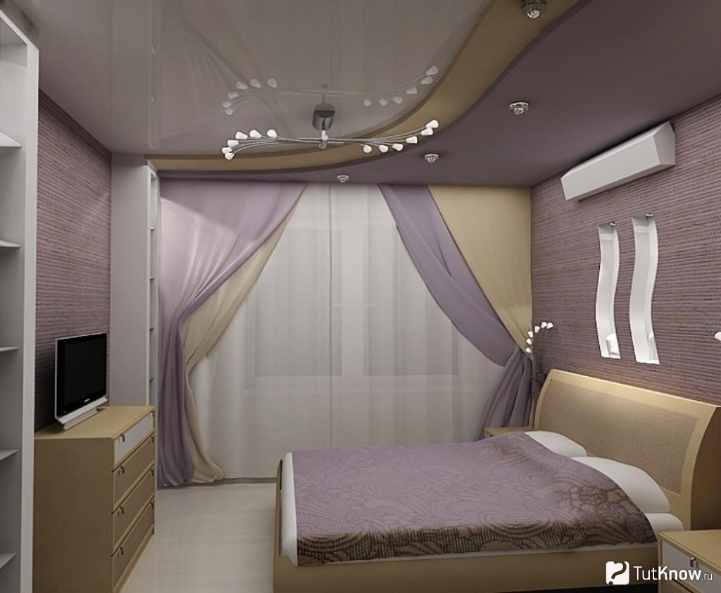 Дизайн потолков 2018 в маленькой комнате