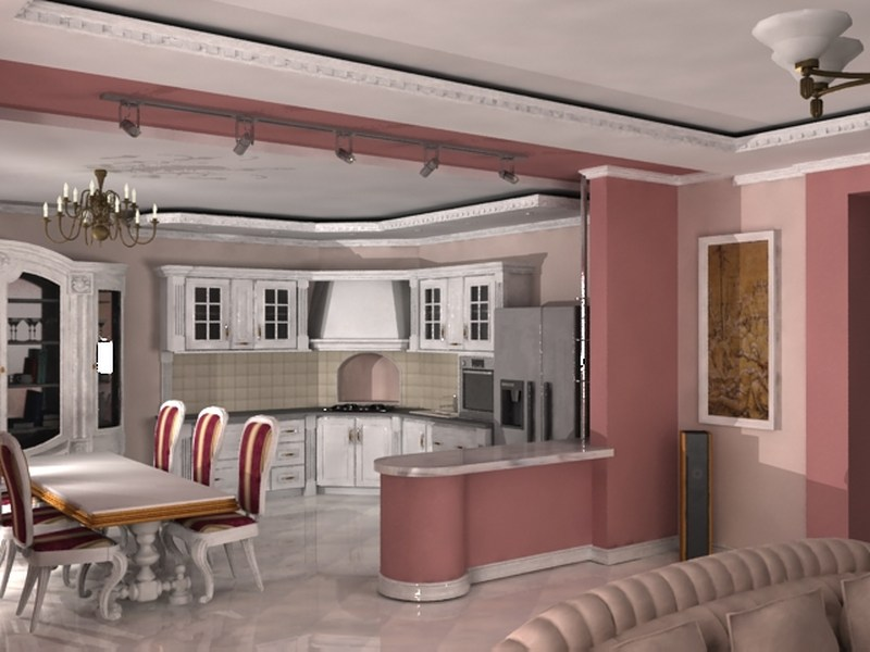 Интерьер кухня и зал студия дизайн кухня и зал