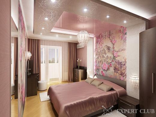 Дизайн спальни в розовом и бежевом тоне