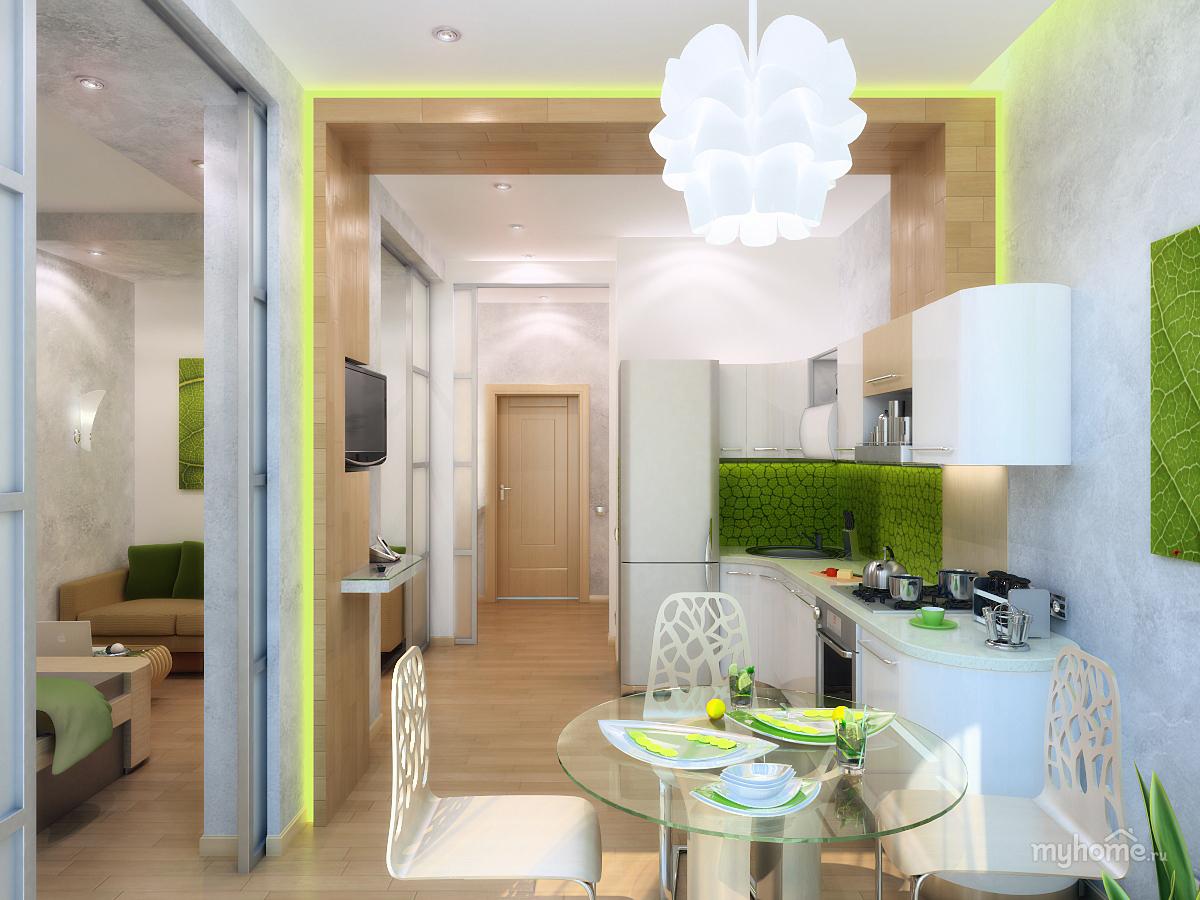 Кухня студия 35 кв м дизайн