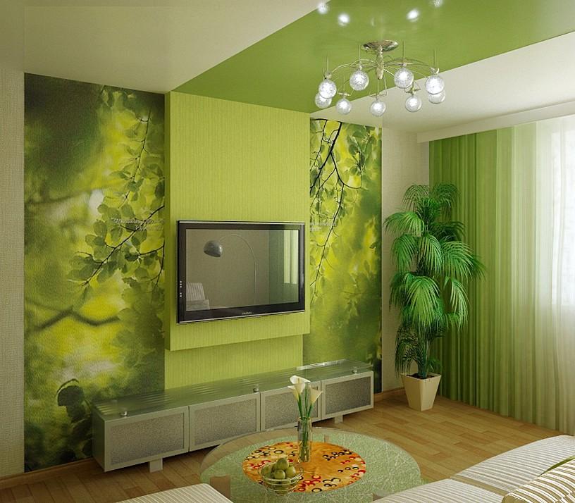 Гостиная в зеленых тонах дизайн