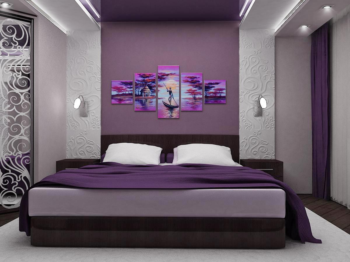 Дизайн маленькой спальни в сиреневых тонах