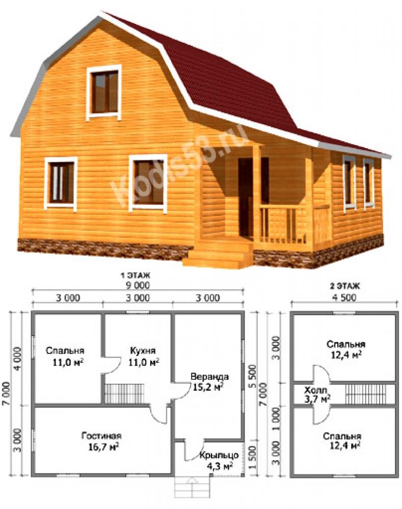 Строительство дома из бруса 8 на 6 с мансардой своими руками 94