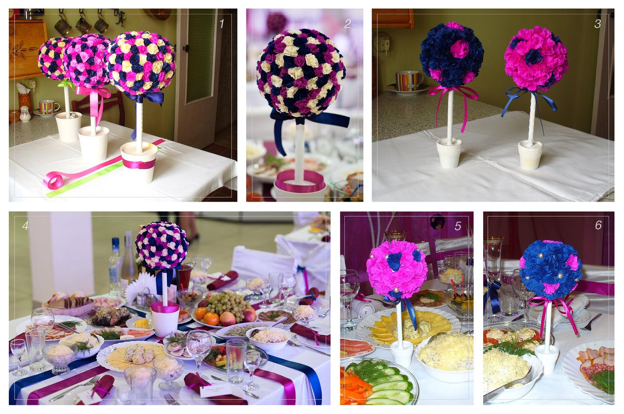 Сделать украшения на свадебный стол