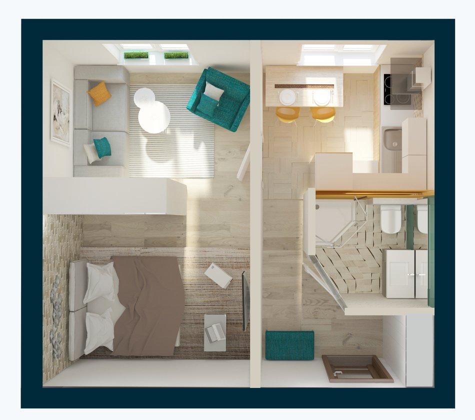 Дизайн однокомнатной панельной квартиры