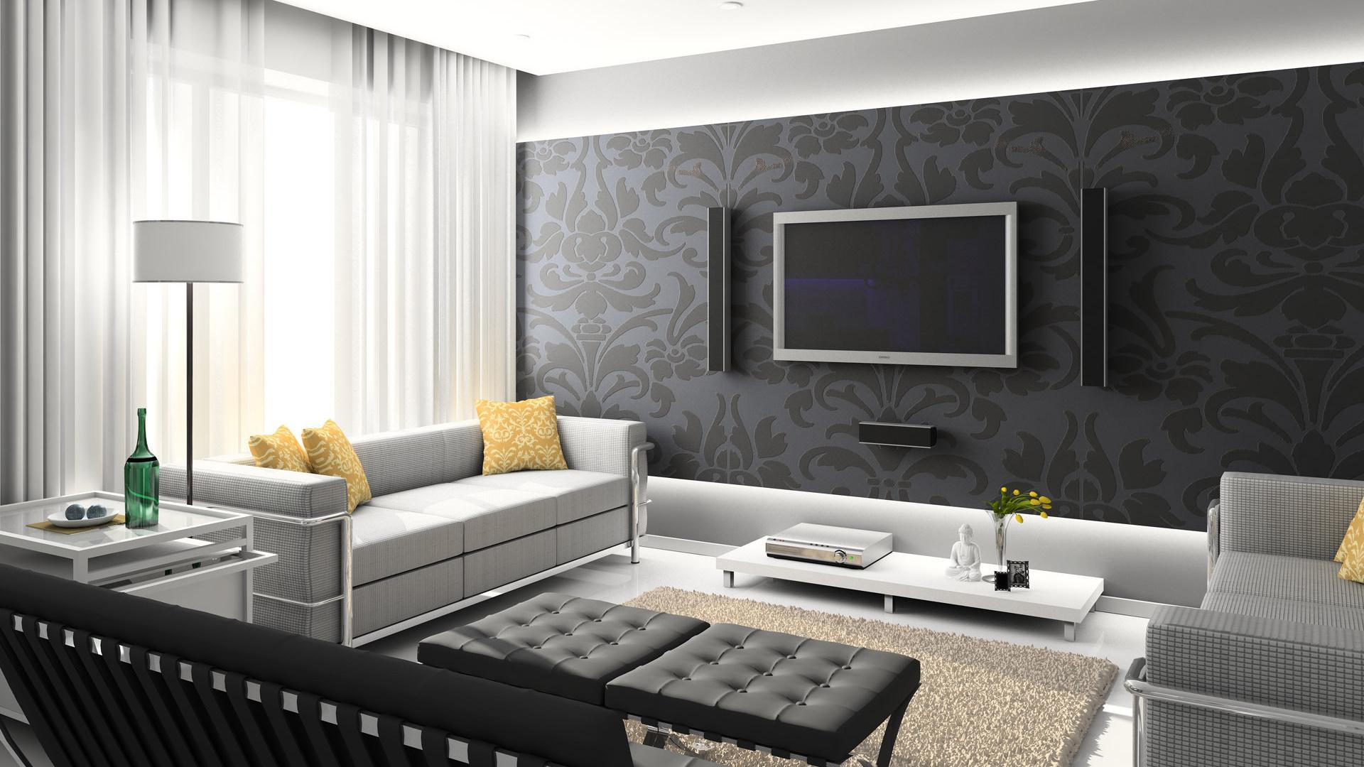 Белый интерьер в гостинной