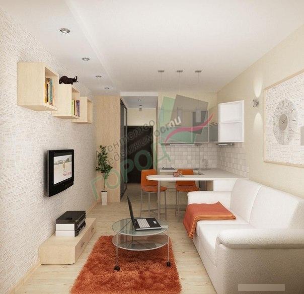 Дизайн комнаты студии с кухней 18 кв м 166