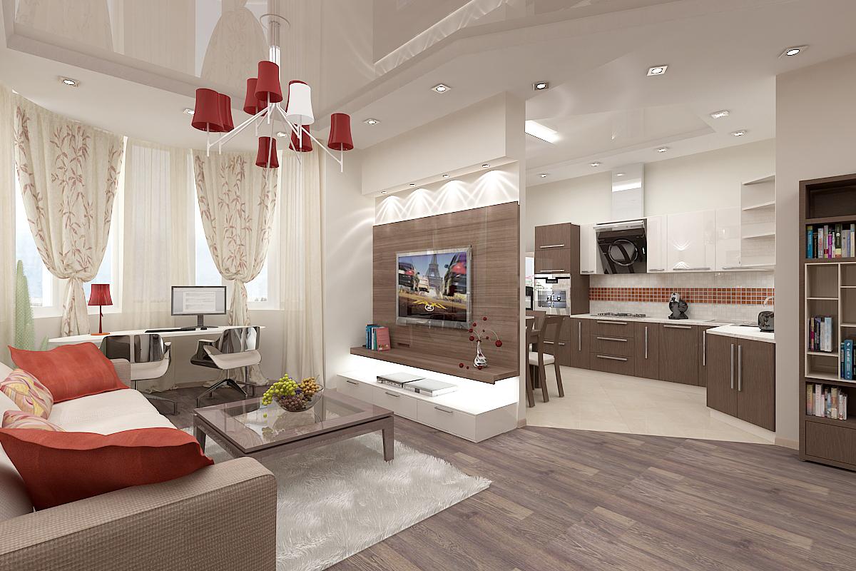 Дизайн и интерьер кухни гостиной фото
