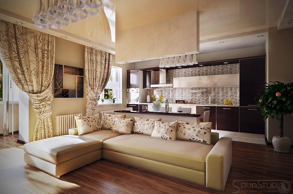 Дизайн интерьера кухни, совмещенной с гостиной..