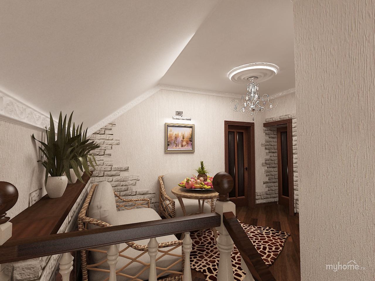 Дизайн холла на втором этаже в частном доме