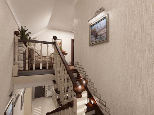Дизайн прихожей второго этажа в частном доме