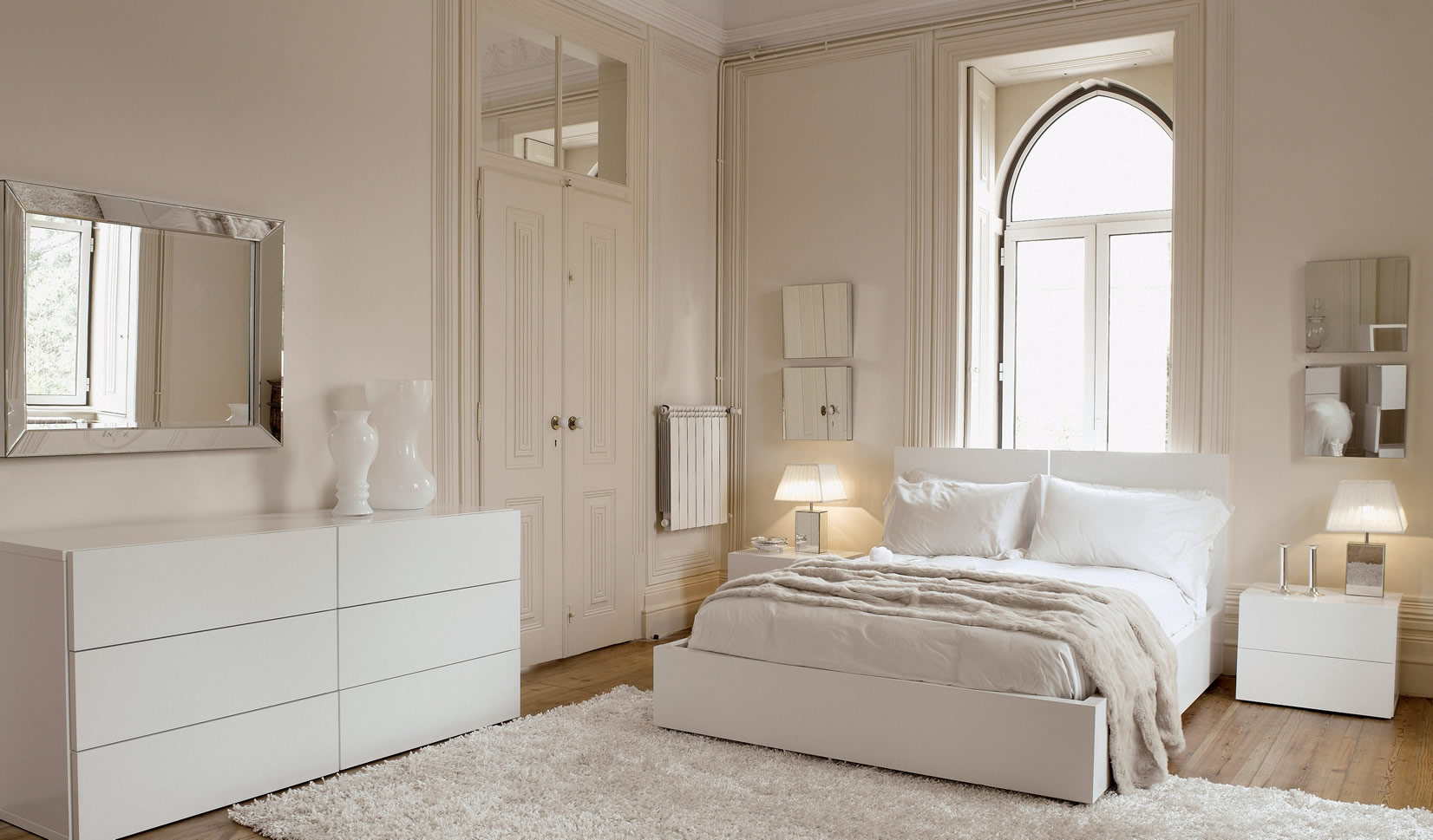 Белая мебель в спальне дизайн