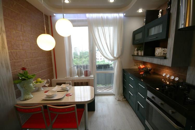 Дизайн кухни 9 кв.м с выходом на лоджию