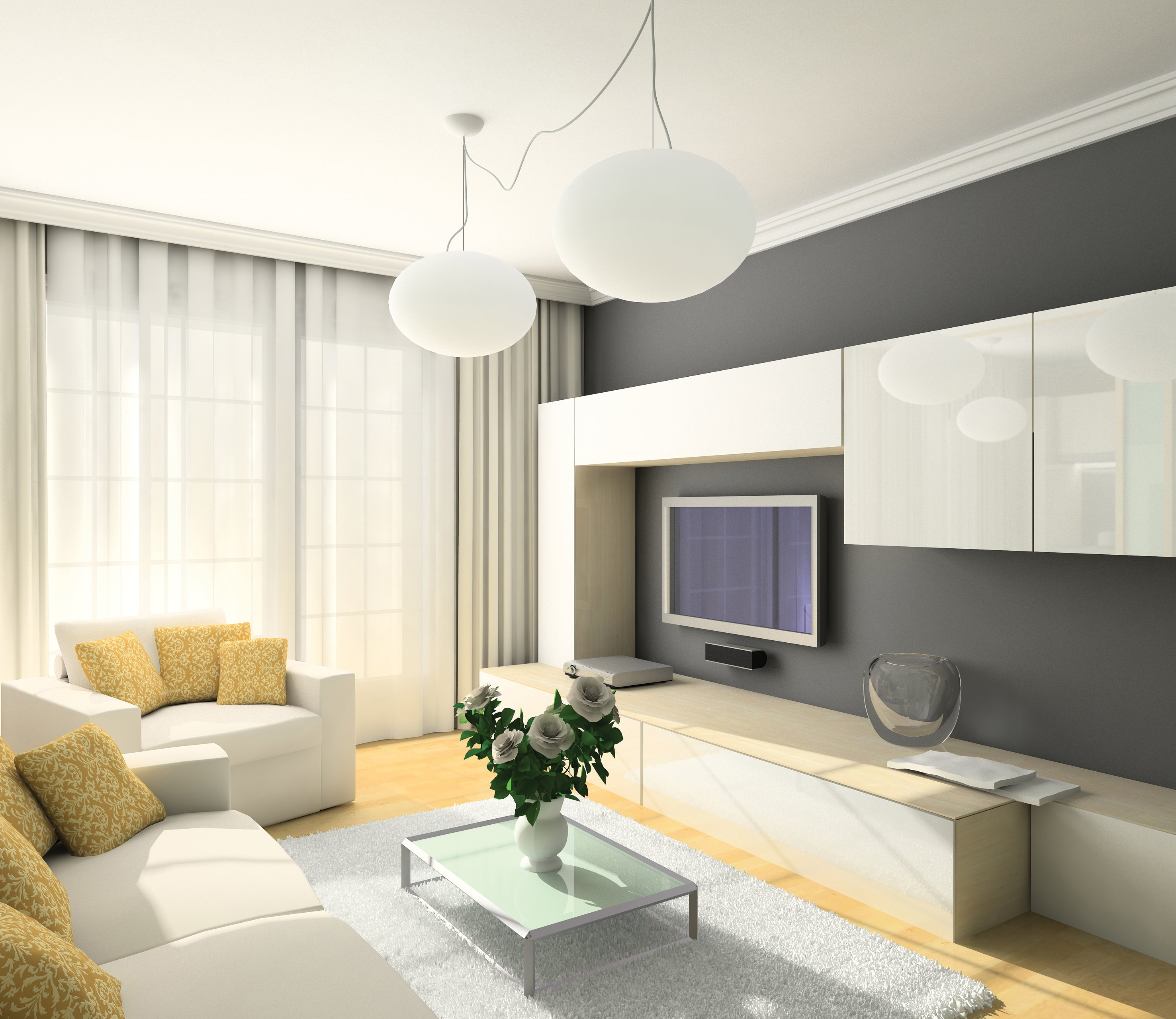 Дизайн проект гостиной 20 метров