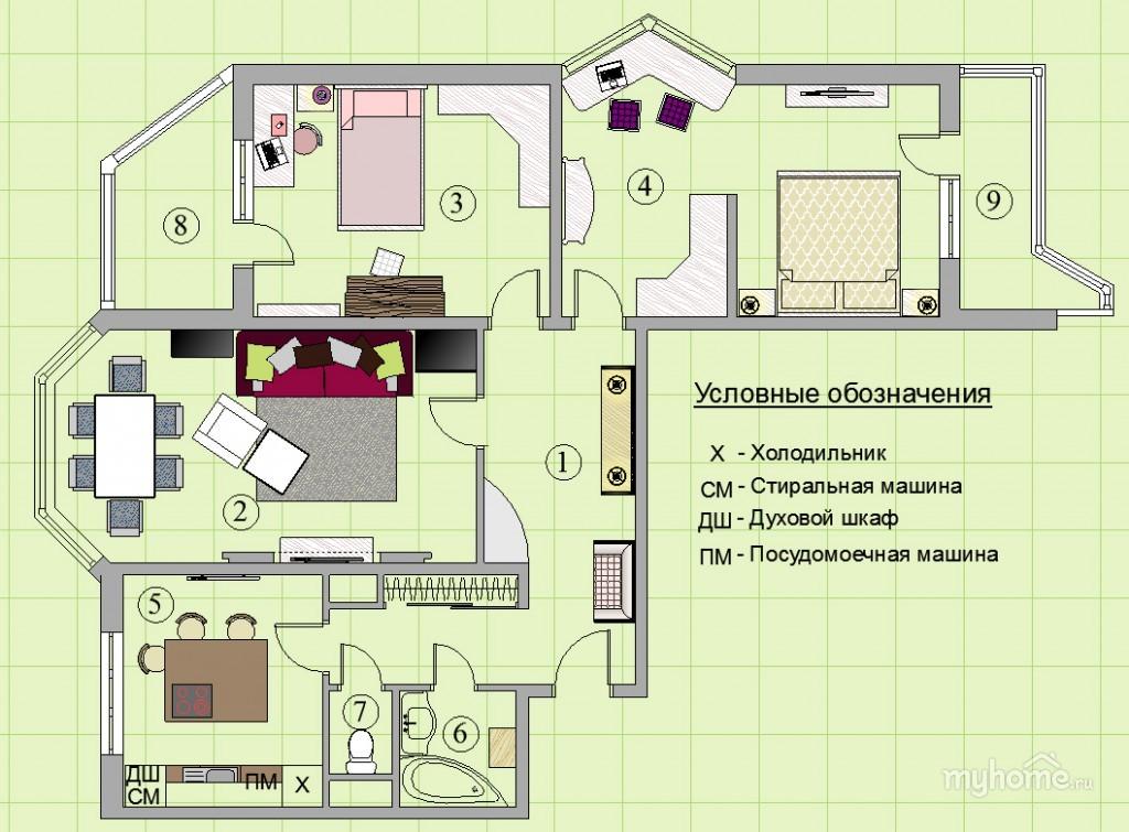 Бюджетный дизайн 3 х комнатной квартиры 79 м в п44т с