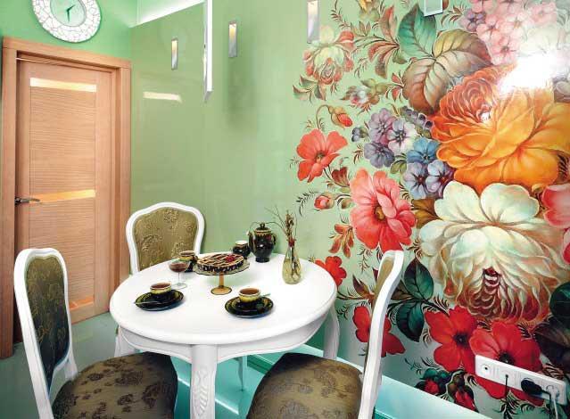 Рисунки обоев для стен на кухню